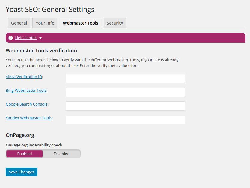 Yoast SEO Webmaster Tools